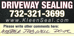 Kleen Seal Reviews Driveway Sealing Bridgewater 08807